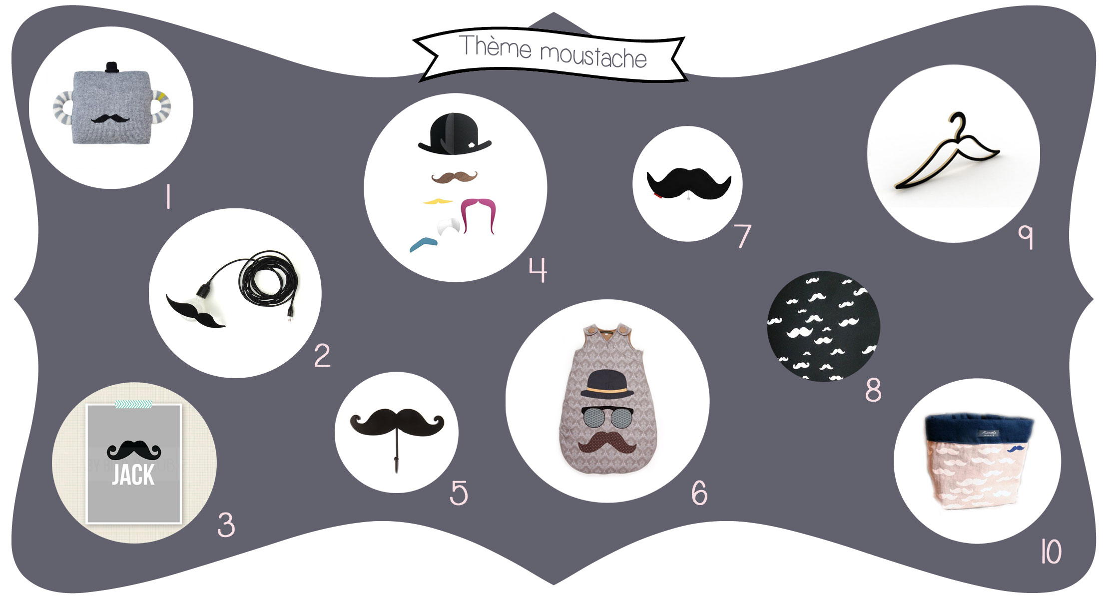 id e d co th me moustache dans ma chambre il y a. Black Bedroom Furniture Sets. Home Design Ideas